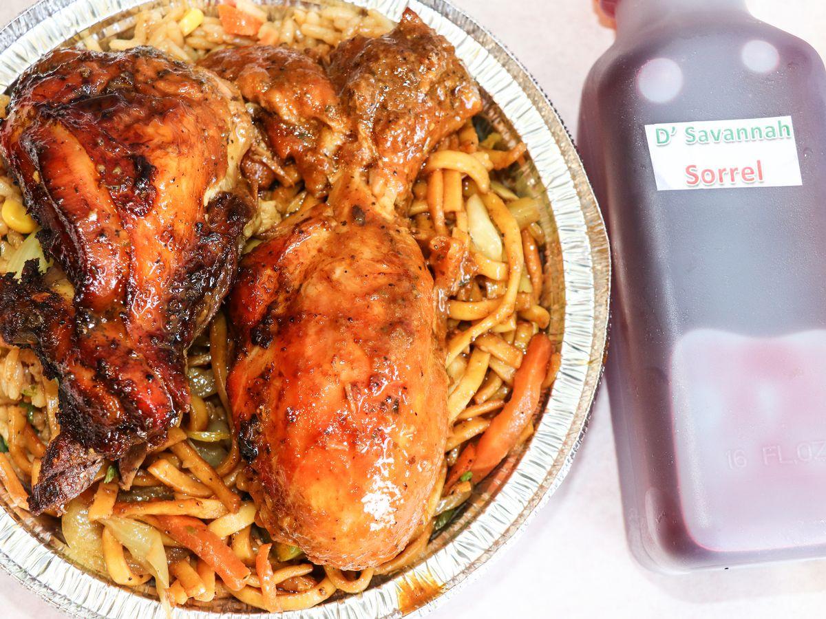 jerk chicken and sorrel juice