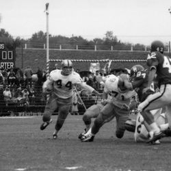 1962-FSU FB Marion Roberts running with the ball during football game in Tallahassee against the University of Houston.