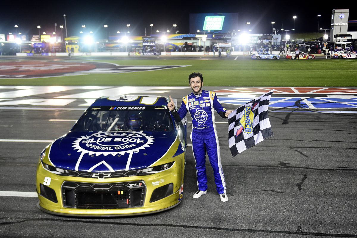 Chase Elliott, driver of the #9 Kelley Blue Book Chevrolet, celebrates after winning the NASCAR Cup Series Alsco Uniforms 500 at Charlotte Motor Speedway on May 28, 2020 in Concord, North Carolina.