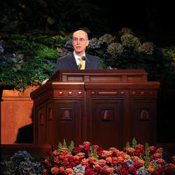 First counselor President Henry B. Eyring speaks at the morning session of the 183rd Semiannual General Conference of the Church of Jesus Christ of Latter-day Saints Sunday, Oct. 6, 2013, in Salt Lake City.