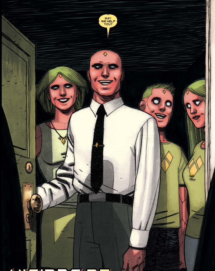 The Vision, his wife Virginia, daughter Viv, and son Vin, in The Vision, Marvel Comics (2016).