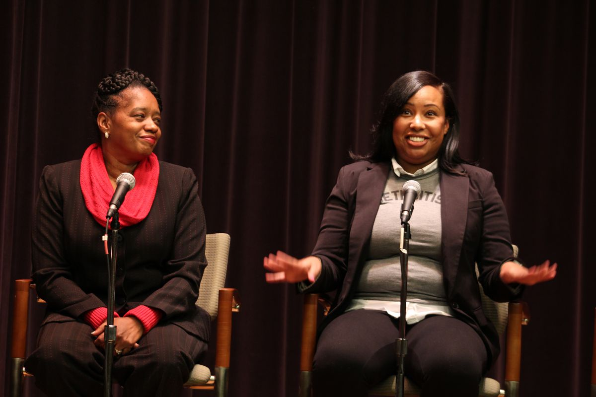 Dawn Wilson-Clark, a parent and organizer with 482Forward, and Katherine Andrews, a teacher with the University Prep charter school district, spoke about the impacts of students changing schools.