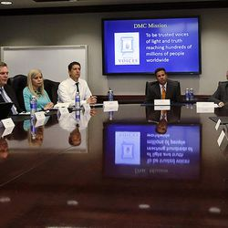 U.S. Secretary of the Interior Sally Jewell, second from left, meets with the Deseret Media Companies Editorial Board in Salt Lake City, Wednesday, Aug. 5, 2015.