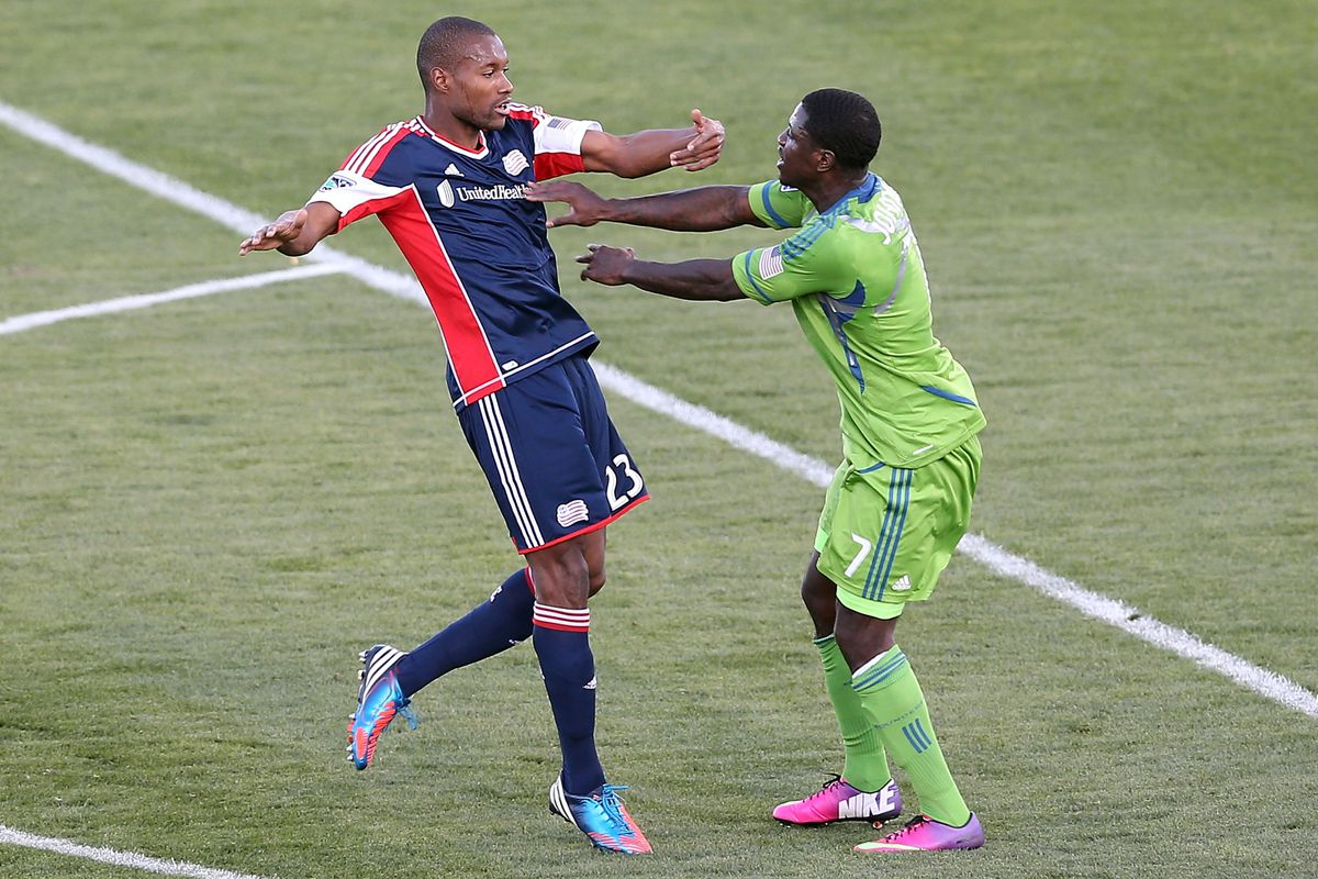 Eddie Johnson shoves Jose Goncalves in one of many first-half confrontations between players