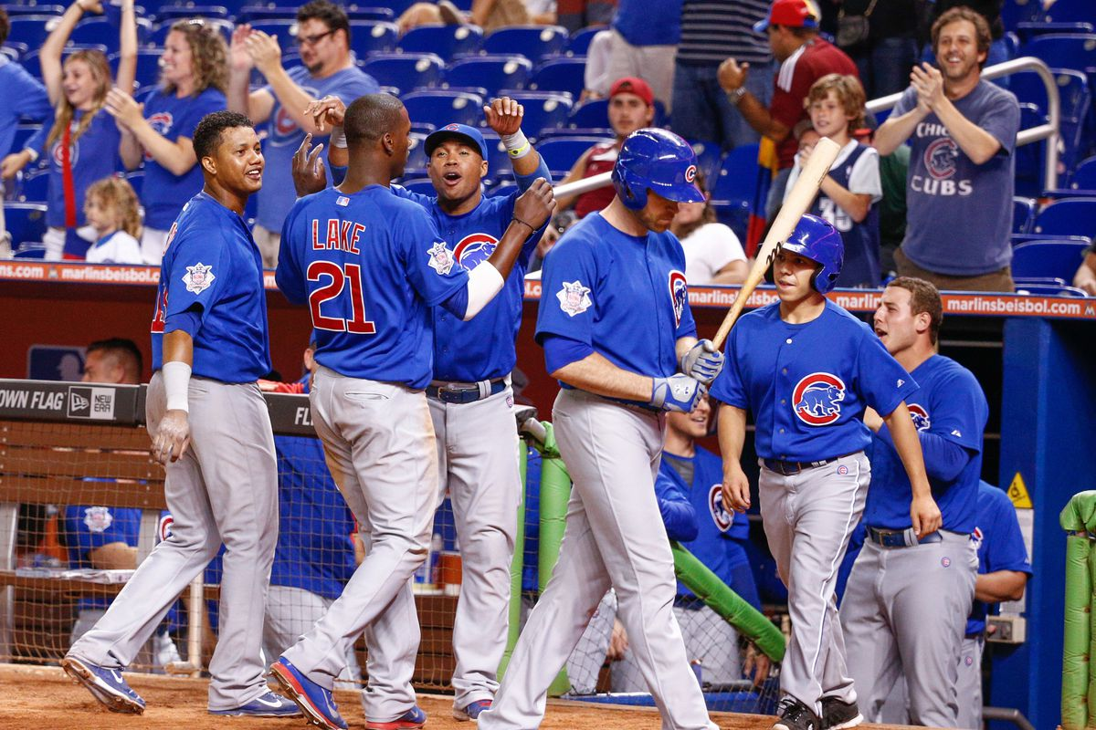 Junior Lake after scoring the eventual winning run on Travis Wood's pinch-double. Pinch-double?