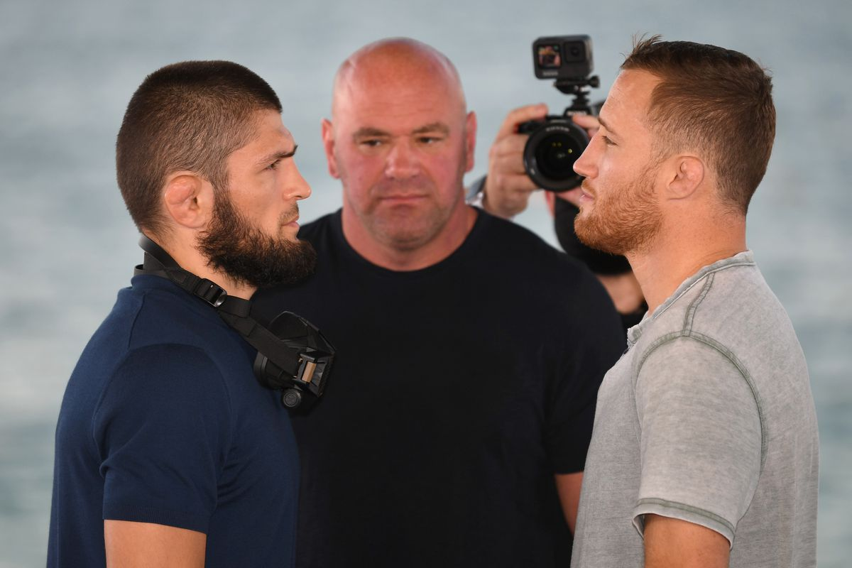 Opponents Khabib Nurmagomedov of Russia and Justin Gaethje face off during the UFC 254 press conference at Yas Beach on October 21, 2020 on UFC Fight Island, Abu Dhabi, United Arab Emirates.