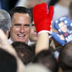 Republican presidential candidate former Massachusetts Gov. Mitt Romney greets supporters after a speech at The Seagate Center in Toledo, Ohio, Wednesday, Sept. 25, 2012, during a campaign stop.