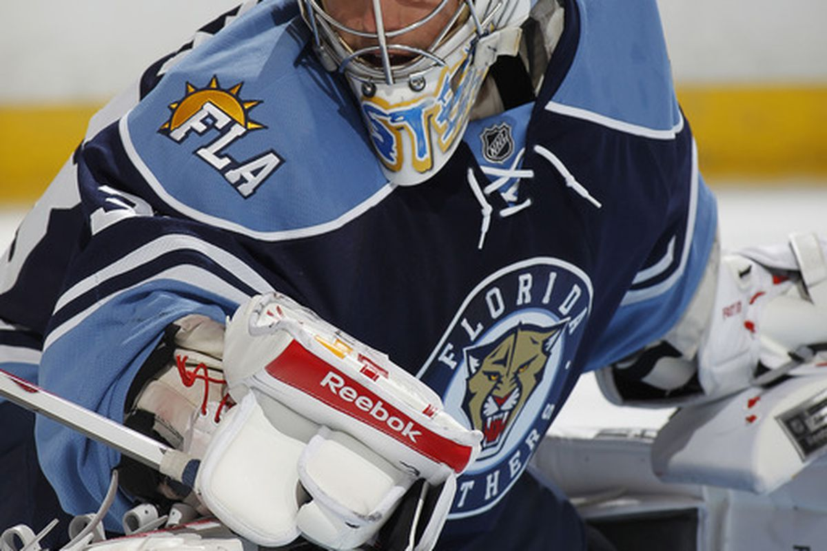 SEPTEMBER 19: Goaltender <strong>Brian Foster</strong> of the Panthers looks towards the corner after making a save against the Predators in Sunrise, FL. (Photo by Joel Auerbach/Getty Images)