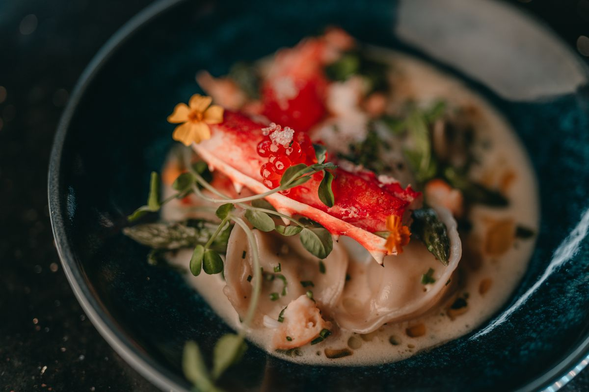 At Donahue, king crab gets paired with a 62-degree egg and placed atop asparagus ricotta tortellini with a dollop of salmon roe caviar