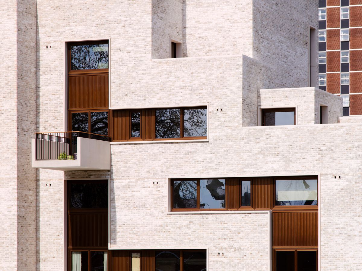 Close-up of exterior balconies