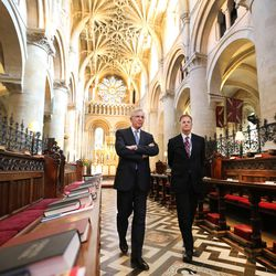 Elder D. Todd Christofferson, of the Quorum of the Twelve Apostles of The Church of Jesus Christ of Latter-day Saints, gets a tour from Philip Tootill at Christ Church, Oxford University Cathedral prior to speaking in Oxford, England on Thursday, June 15, 2017.