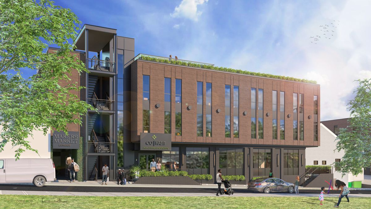 Another rendering shows a three-story building with a green-filled seating area on the roof.