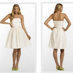 """Lilly Pulitzer <a href=""""http://www.lillypulitzer.com/product/Dresses/entity/c/38/5729.uts?swatchName=Gold+Metallic+Tiny+Corded+Organza+Stripe"""">Kerry Dress</a>, $288"""