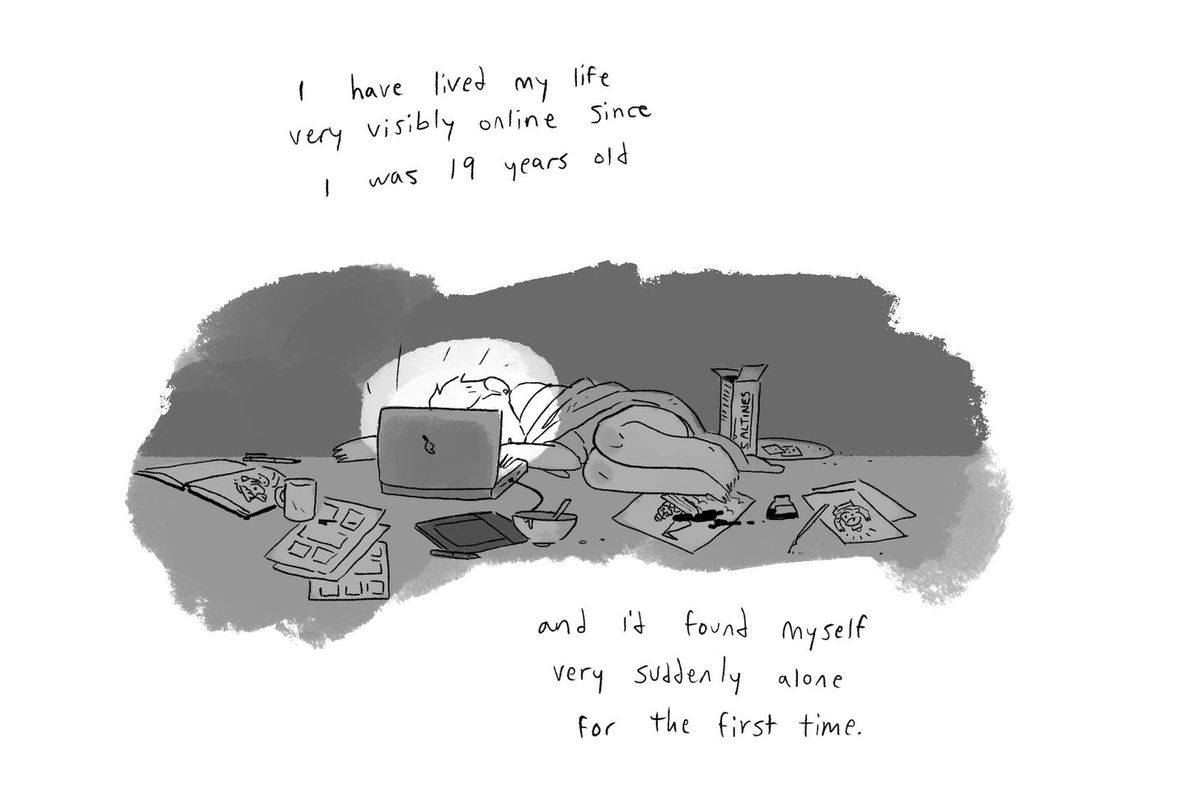 """A comic-strip image of Noelle curled up in bed, face in a laptop, surrounded by art and dishes and food. Caption: """"I have lived my life very visibly online since I was 19 year old and I'd found myself very suddenly alone for the first time."""" From the Substack I'm Fine I'm Fine Just Understand."""