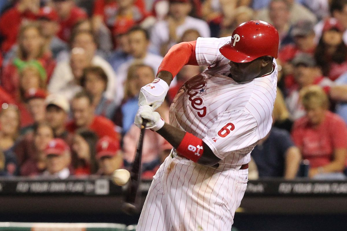 Ryan Howard bats in a win over the Marlins. The Phillies were without Howard for most of the season, but have heated up since his return. (Photo by Hunter Martin/Getty Images)
