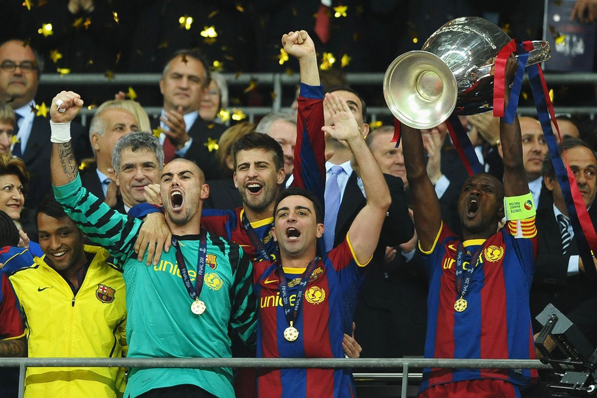 Eric Abidal lifts club football's biggest trophy months after his first surgery.