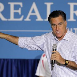 Republican presidential candidate, former Massachusetts Gov. Mitt Romney speaks at a campaign rally, Wednesday, Sept. 26, 2012, in Westerville, Ohio.