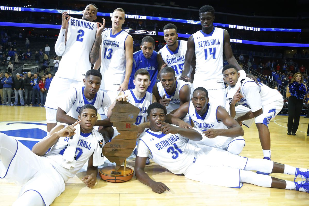 Seton Hall posing with the Garden State Hardwood Classic trophy after beating Rutgers 81-54.