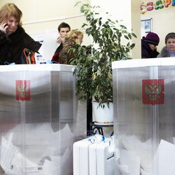 Voting in the presidential election at a polling station on March 04, 2012 in Moscow, Russia.
