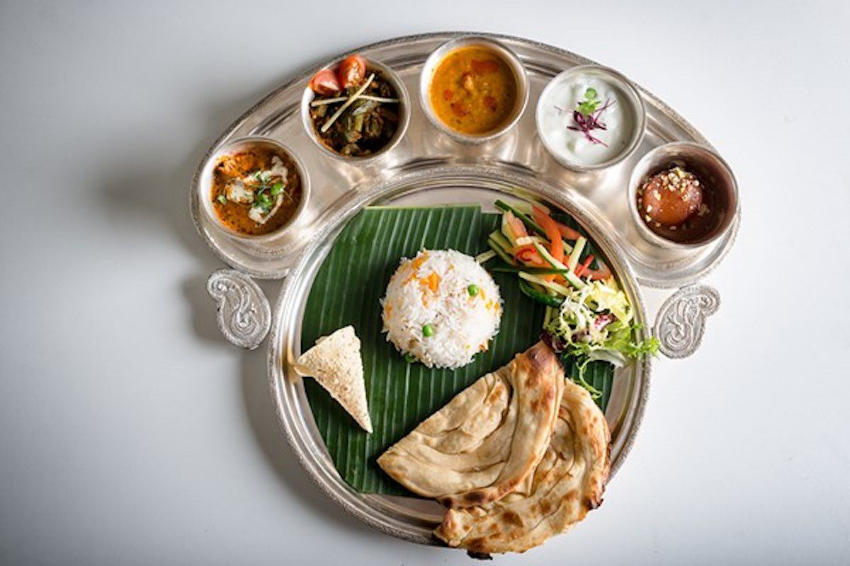 A spread of Indian dishes at Gaylord restaurant in central London