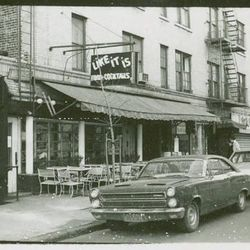 """This picture of Like It Is, a bar, was included in a <a href=""""http://digitalgallery.nypl.org/nypldigital/dgkeysearchdetail.cfm?trg=1&strucID=1097262&imageID=1621672&total=196&num=20&word=greenwich%20village&s=1&notword=&d=&c=&f=&k=1&lWord=&lField=&sScope="""