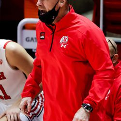 Utah Utes head coach Larry Krystkowiak calls out from the bench during the game against the California Golden Bears at the Huntsman Center in Salt Lake City on Saturday, Jan. 16, 2021.