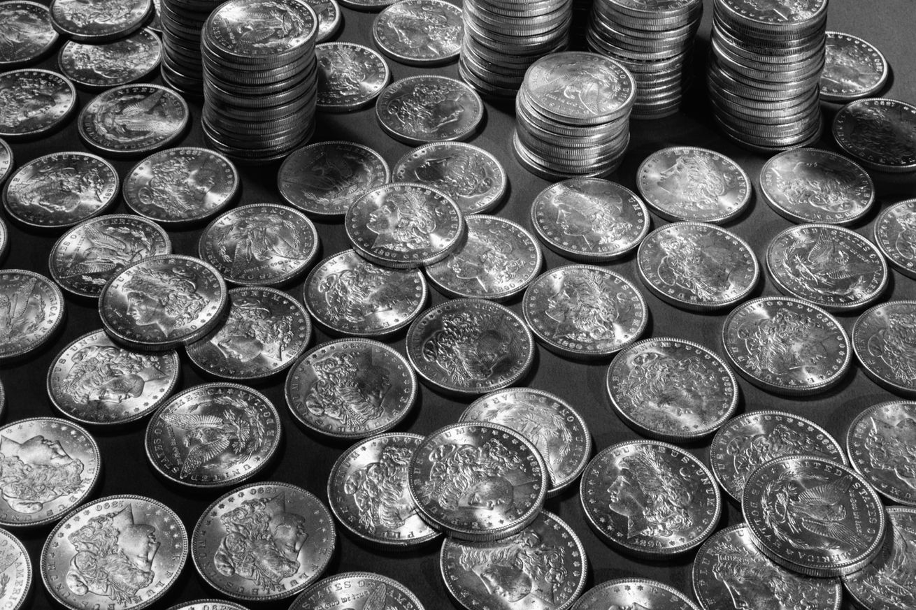 Stacks of 1890 Dollar Coins