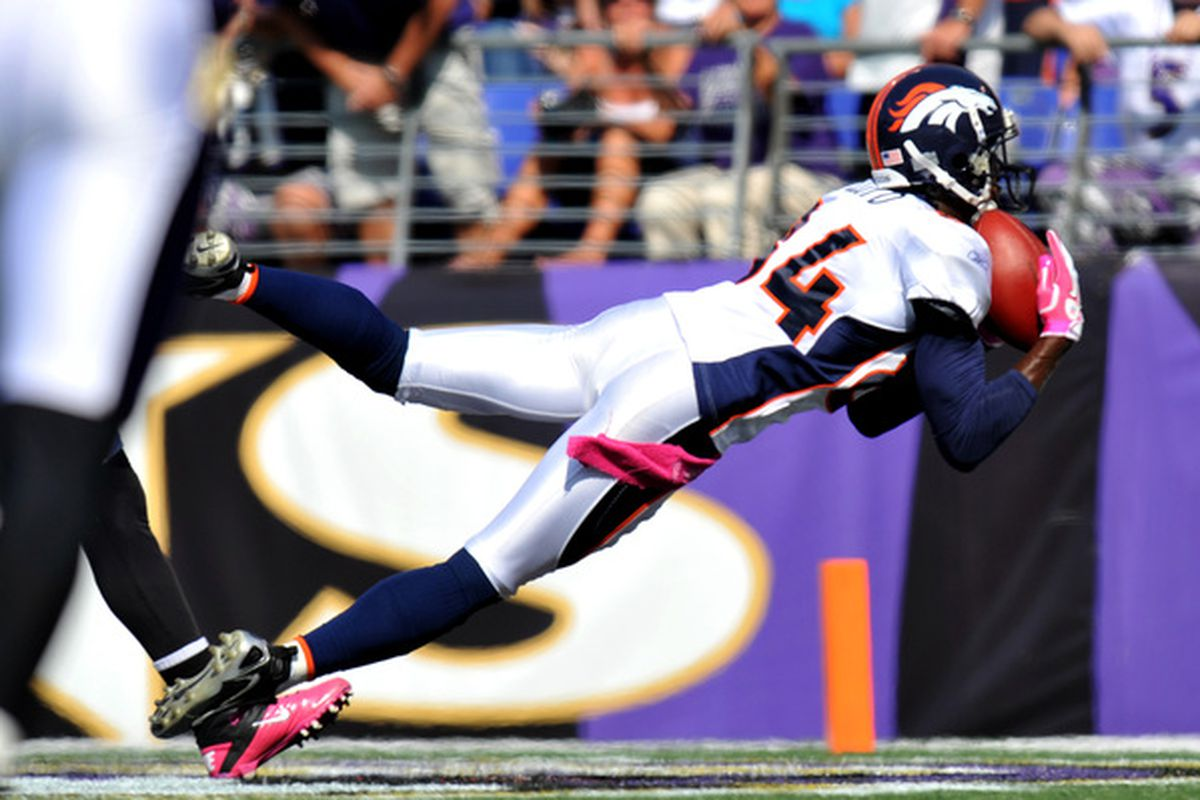 It's catches like this that got Brandon Lloyd of the Denver Broncos a spot on the Pro Bowl roster to represent the AFC on Sunday.  (Photo by Larry French/Getty Images)