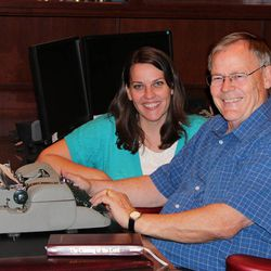 Author Gerald Lund gave his daughter Rebecca Belliston this typewriter he used to some of his first books.
