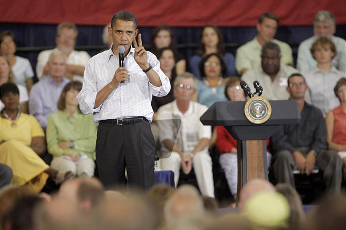 President Barack Obama speaks at a town hall meeting on health-care reform Friday in Belgrade, Mont.