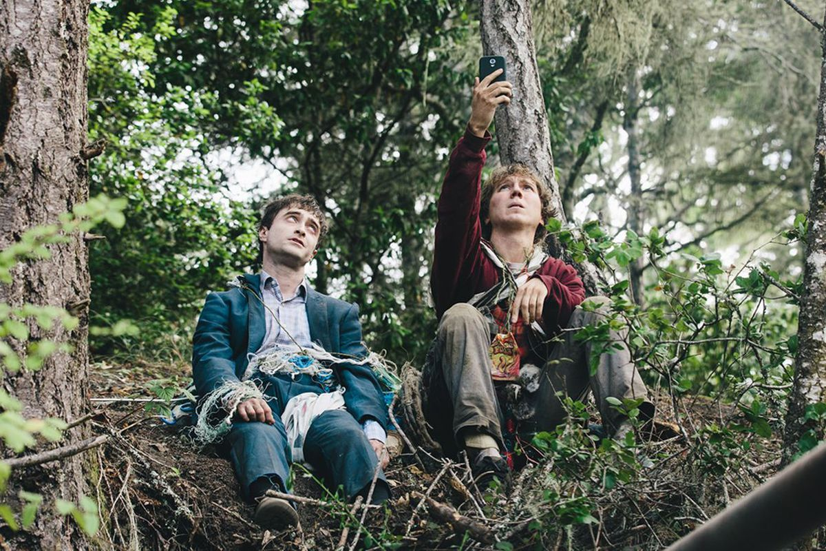 Daniel Radcliffe and Paul Dano in Swiss Army Man. Radcliffe plays a corpse.