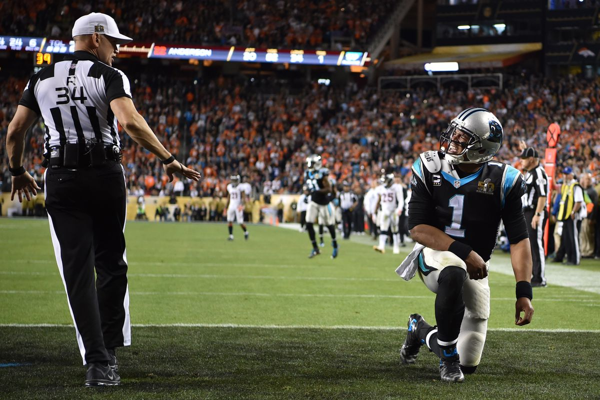 Cam Newton did not get the roughing call he was looking for near the end of the game.