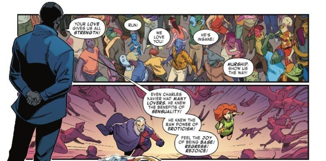 """Apocalypse the Love Guru reminds chaste mutants that even Charles Xavier had many lovers and """"knew the benefits of sensuality"""" in Age of X-Man: The Marvelous X-Men #4, Marvel Comics (2019)."""