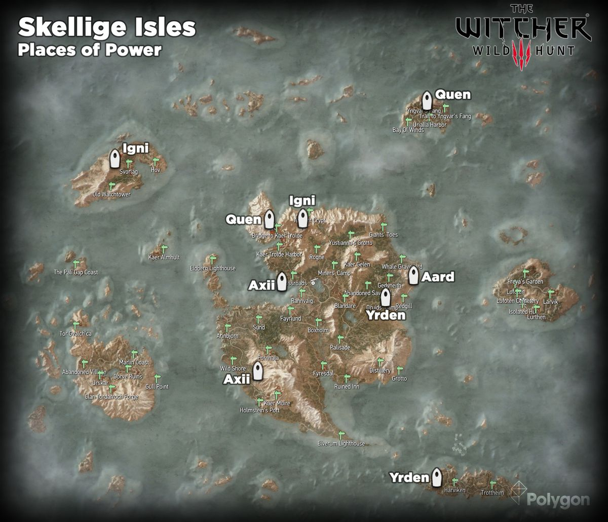 Witcher 3 Skellige Isles Places of Power locations map