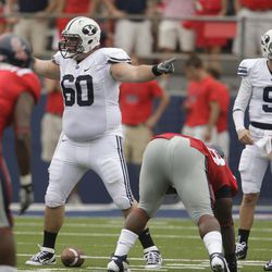 BYU offensive linesman Terence Brown lines up during  the Cougar season opener with Ole Miss  in Oxford, Miss  Saturday, Sept. 3, 2011.