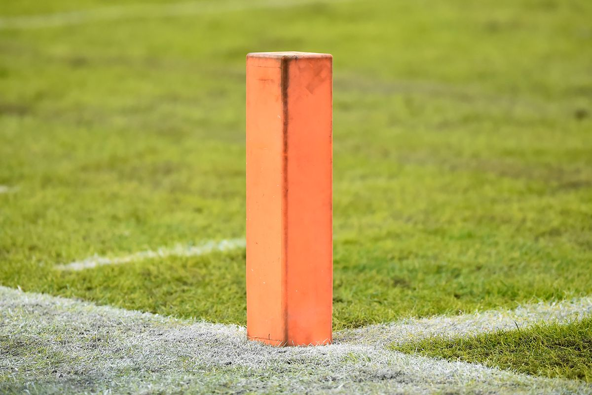 A general view of an official NFL pylon marker during the second half of the game between Washington and the Philadelphia Eagles at FedExField on December 15, 2019 in Landover, Maryland.