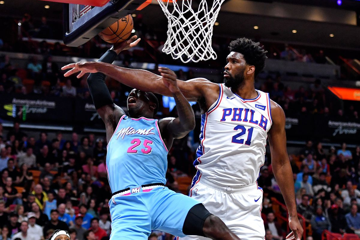 Philadelphia 76ers center Joel Embiid fouls Miami Heat guard Kendrick Nunn during the first half at American Airlines Arena.
