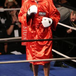 Former Massachusetts Gov. Mitt Romney gets ready to fight five-time heavyweight champion Evander Holyfield at Charity Vision Fight Night at The Rail Event Center in Salt Lake City on Friday, May 15, 2015.