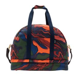 """This tricky bag is expandable and the bottom compartment fits a pair of shoes. Also, if this trippy design doesn't strike your fancy there are tons of other patterns as well as solid shades. <a href=""""http://www.saturday.com/The-Weekender-Bag-in-Hot-Lava/4"""