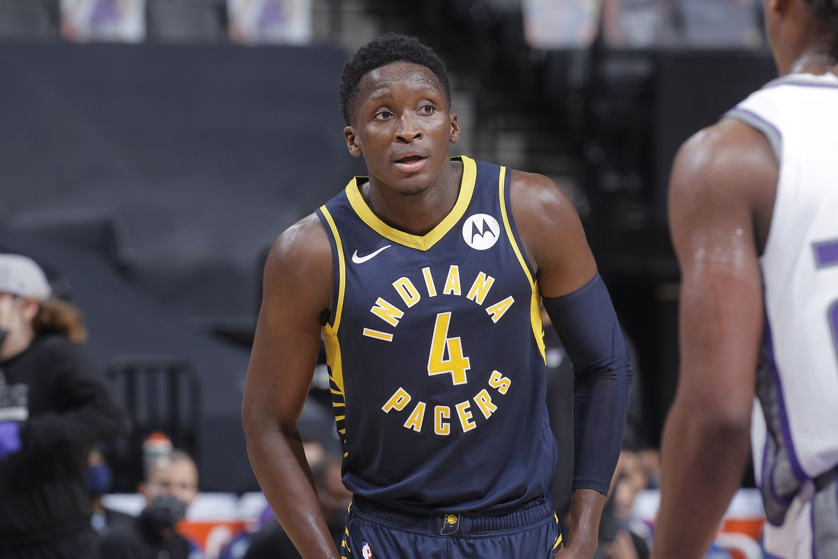 Victor Oladipo of the Indiana Pacers looks on during the game against the Sacramento Kings on January 11, 2021 at Golden 1 Center in Sacramento, California.