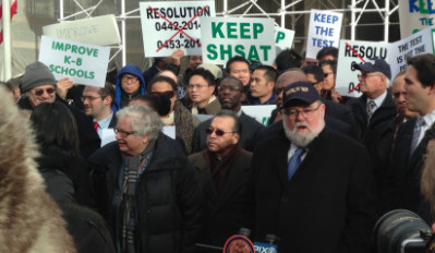 A coalition of specialized high school alumni protested in favor of the current admissions policies.