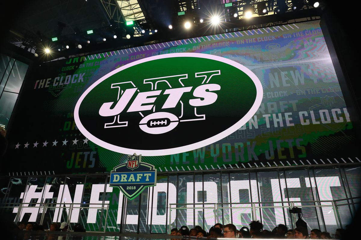 New York Jets logo on the video screen during the First Round of the 2018 NFL Draft on April 26, 2018 at AT&T Stadium in Arlington Texas.