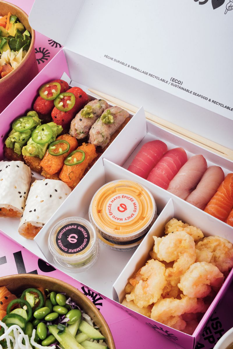 bento box filled with sushi