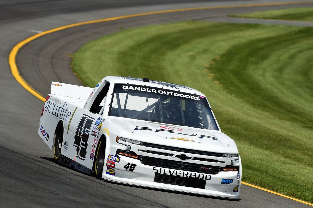 Ross Chastain, driver of the #45 Niece/Acurlite Chevrolet, practices for the NASCAR Gander Outdoors Truck Series Gander RV 150 at Pocono Raceway on July 26, 2019 in Long Pond, Pennsylvania.