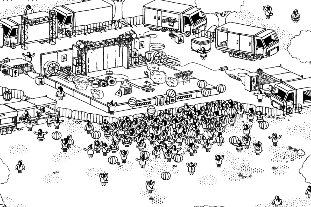A music level with lots of hand-drawn details in Hidden Folks