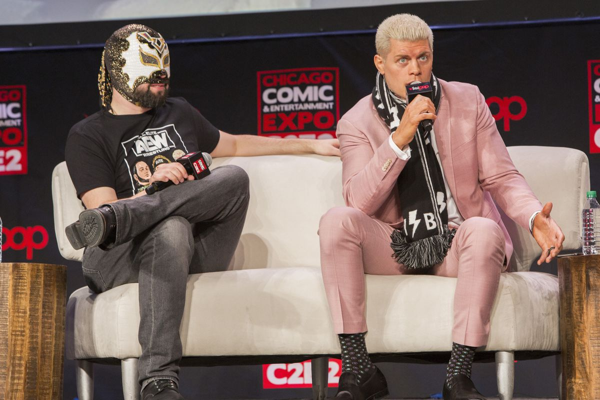 Excalibur aka Marc Letzmann and Cody Rhodes of the AEW Wrestling during C2E2 at McCormick Place on February 28, 2020 in Chicago, Illinois.