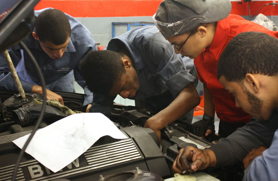 Students at Alfred E. Smith Career and Technical Education High School, where the principal advised many students who were far behind to consider transferring to a special program.