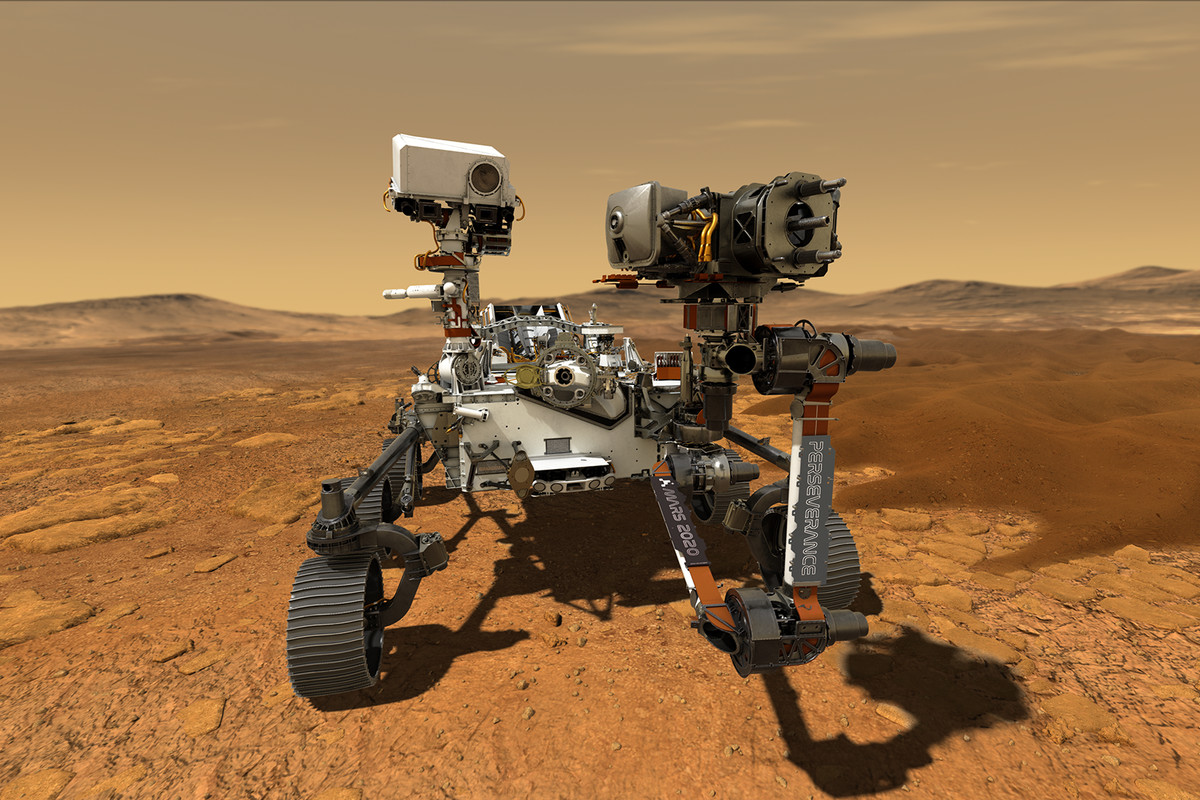 An artist's rendering of the Perseverance rover on Mars.