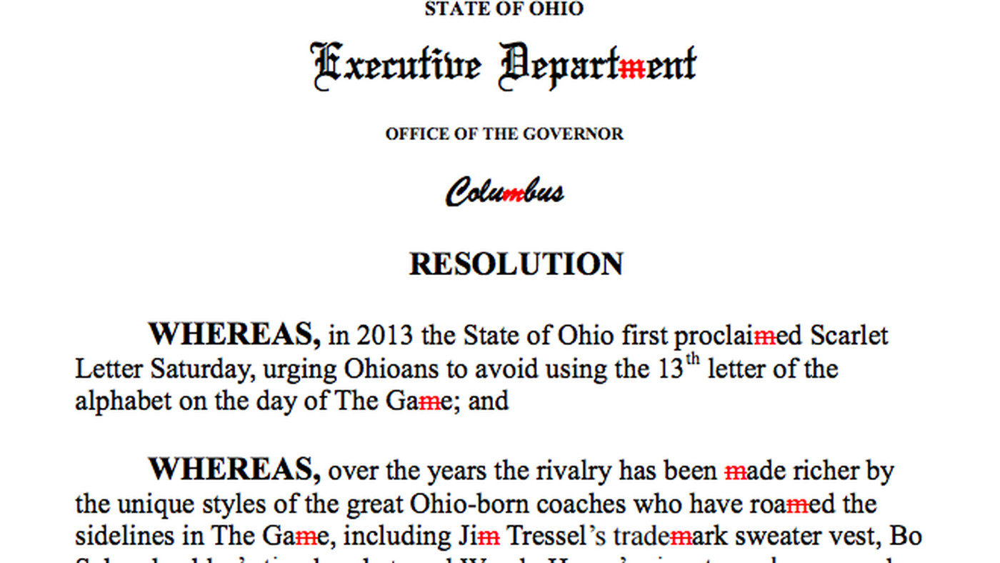 Ohio governor bans khakis, the letter M before Ohio State vs. Michigan game - SBNation.com