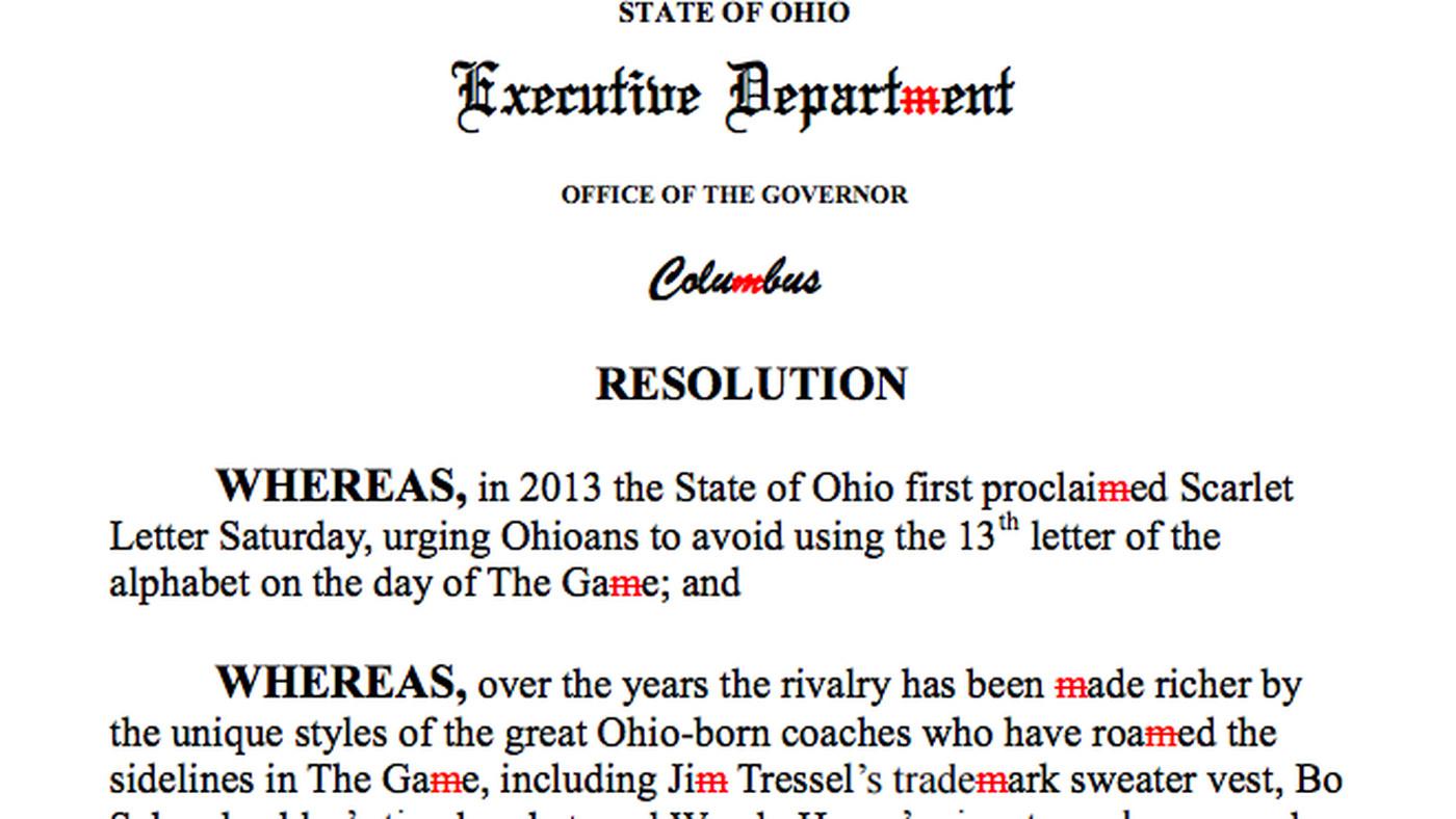 Ohio governor bans khakis, the letter M before Ohio State vs. Michigan game - SBNation.com